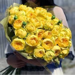 Букет 31 пионовидная желтая роза R691